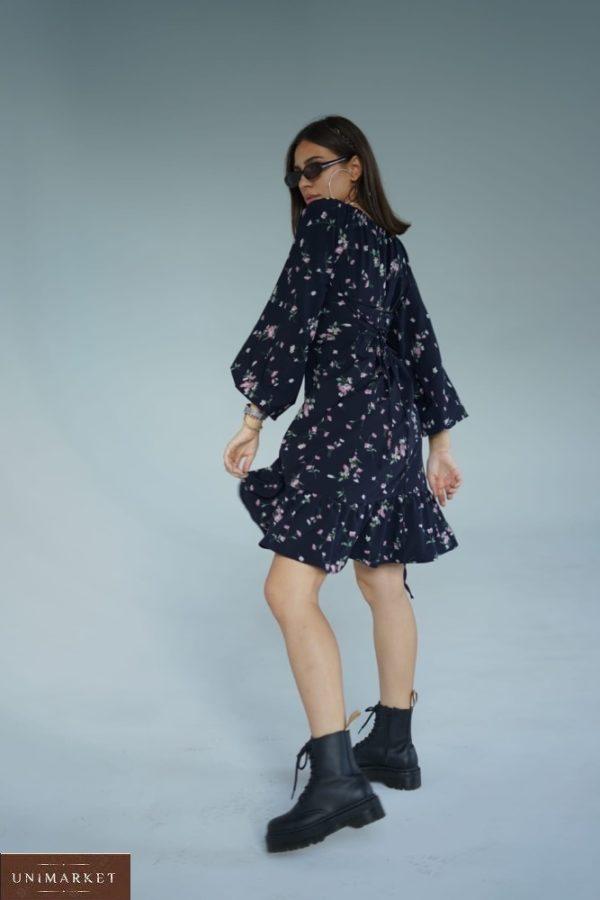 Заказать черное женское платье из софт шелка с цветочным принтом (размер 42-52) онлайн