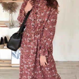 Приобрести розовое Вельветовое платье в цветочный принт с длинным рукавом для женщин по скидке