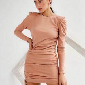 Купить цвета пудра трикотажное платье мини с длинным рукавом для женщин по скидке