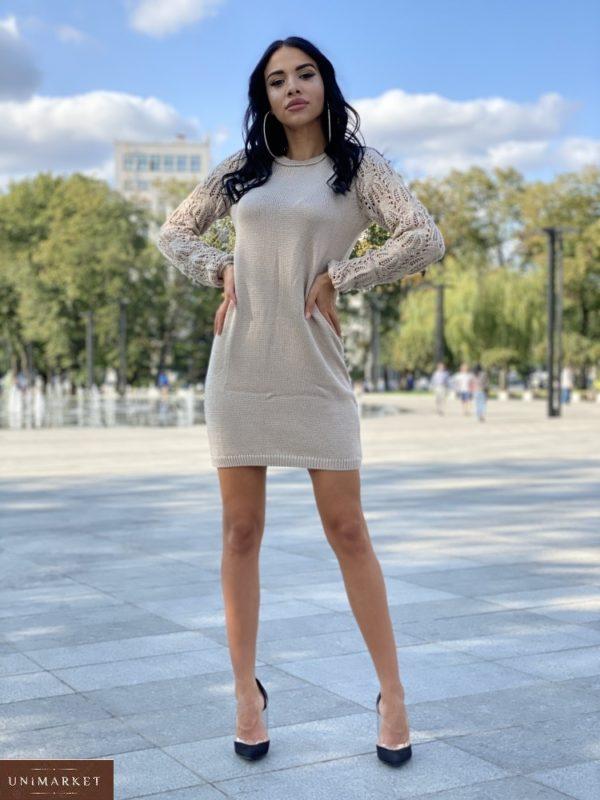 Заказать беж платье мелкой машинной вязки для женщин с ажурными рукавами недорого