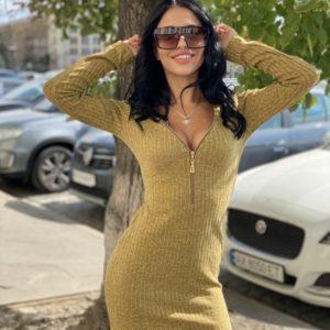 Купить золотое платье мини из трикотажа рубчик со змейкой для женщин выгодно