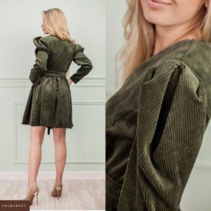 Купить хаки вельветовое платье с длинным рукавом для женщин на осень выгодно
