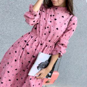 Заказать розовое вельветовое платье с длинным рукавом с сердечками для женщин недорого