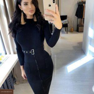 Купить синее платье-утяжку на молнии женское на осень по низким ценам