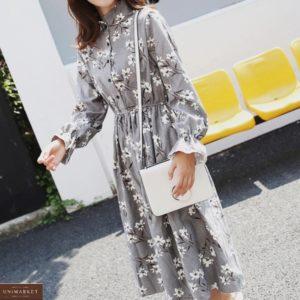Приобрести серого цвета вельветовое платье в цветочный принт женское с длинным рукавом выгодно