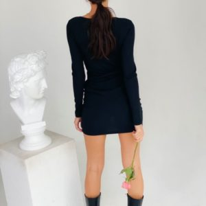 Купить для женщин черное платье с длинным рукавом из трикотажа мустанг выгодно