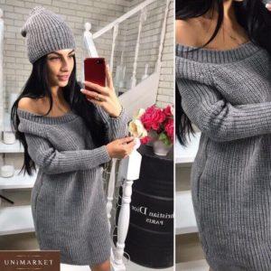 Заказать серое платье-тунику с открытыми плечами+шапка для женщин по низким ценам на осень