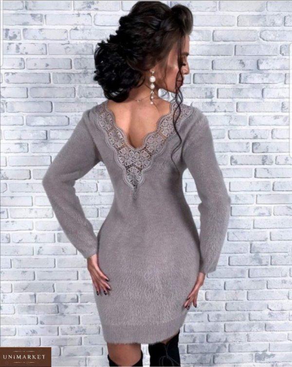 Купить серого цвета теплое платье из ангоры с открытой спиной с кружевом для женщин по низким ценам