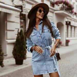 Заказать голубого цвета джинсовое платье с длинным рукавом и поясом для женщин в Украине