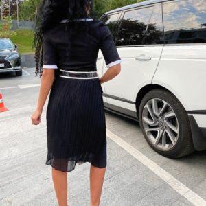 Заказать женское черного цвета платье с имитацией пиджака с поясом (размер 42-56) выгодно