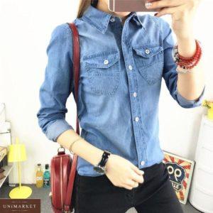 Заказать женскую синюю джинсовую рубашку на пуговицах онлайн