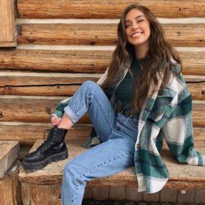 Заказать женскую бутылка рубашку в клетку из пальтовой шерсти на флисе (размер 42-52) онлайн