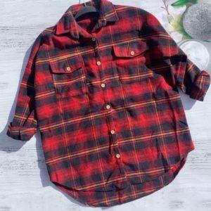Придбати червону байкову сорочку з кишенею в клітку для жінок онлайн