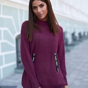 Приобрести сиреневого цвета свитер оверсайз из кашемира для женщин по низким ценам
