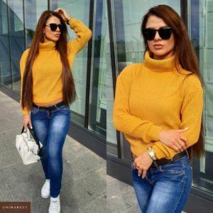 Заказать горчица женский короткий свитер с горлом на осень по скидке