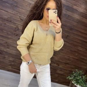 Приобрести женский свитер хлопковой вязки со спущенной линией плеча цвета кэмел онлайн