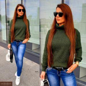 Купить хаки короткий свитер с горлом для женщин по низким ценам
