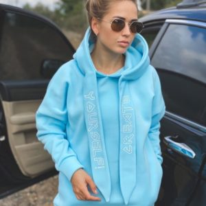 Заказать голубой теплый худи оверсайз с накатом (размер 42-48) для женщин онлайн