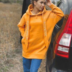 Заказать оранжевый теплый худи для женщин оверсайз с накатом (размер 42-48) онлайн