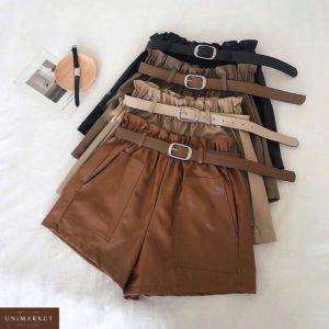 Заказать коричневые, беж, черные шорты из эко кожи с поясом и накладными карманами (размер 42-48) для женщин по низким ценам