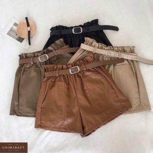 Купить черные, коричневые, беж, мокко шорты из эко кожи с поясом и накладными карманами (размер 42-48) для женщин по скидке