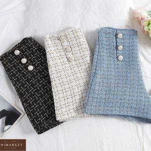 Купить белые, голубые, черные шорты в стиле chanel из ткани букле женские недорого