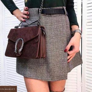 Заказать серую юбку-шорты из твида полушерсти женскую с поясом (размер 44-48) выгодно