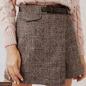 Приобрести коричневого цвета юбку-шорты из твида полушерсти с поясом (размер 44-48) для женщин выгодно