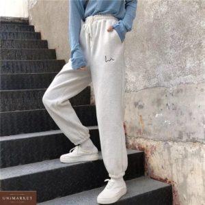 Купить меланж (размер 42-50) женские трикотажные штаны на резинке из трехнитки онлайн