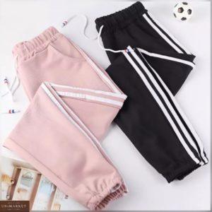 Заказать женские трикотажные штаны с двумя полосками на лампасах цвета пудра, черный (размер 42-50) по скидке
