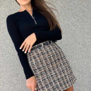 Заказать женскую юбку из твида с высокой посадкой беж/черный онлайн