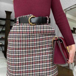 Приобрести бордовую юбку в клетку из твида (размер 42-48) для женщин по низким ценам