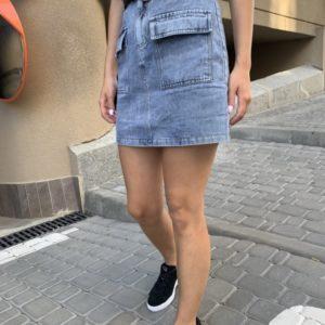 Замовити блакитну жіночу джинсову спідницю з накладними кишенями і поясом онлайн