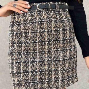Приобрести беж/черную женскую юбку из твида с высокой посадкой выгодно