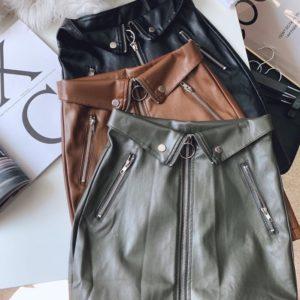 Купить юбку из эко кожи со змейками (размер 42-48) для женщин серую, коричневую, черную в Украине