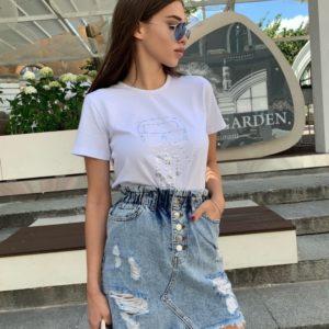 Замовити блакитного кольору джинсову спідницю на гумці з необробленим краєм за низькими цінами для жінок