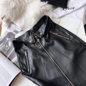 Заказать черную женскую юбку из эко кожи со змейками (размер 42-48) по скидке