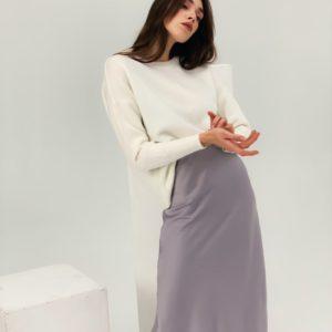 Замовити жіночу шовкову бузок спідницю довжини міді (розмір 42-48) онлайн