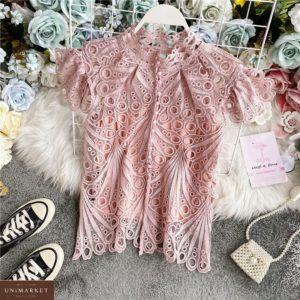 Придбати пудра ніжну блузу під шию з набивного мережива для жінок вигідно