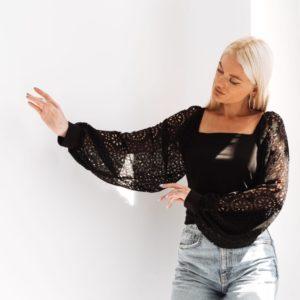 Придбати чорну блузу з шифоном перфорацією (розмір 42-52) для жінок вигідно