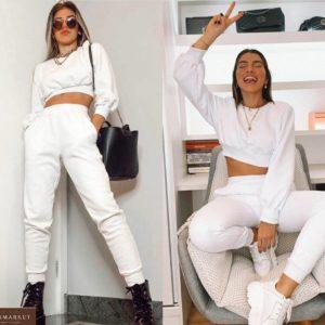 Приобрести женский спортивный костюм из трикотажа белый по скидке со свитшотом-топом