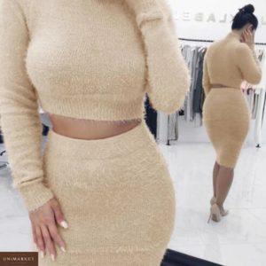 Заказать женский костюм беж топ гольф с длинным рукавом+юбка онлайн