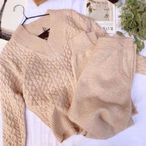Заказать мокко для женщин прогулочный костюм плотной машинной вязки с узором онлайн