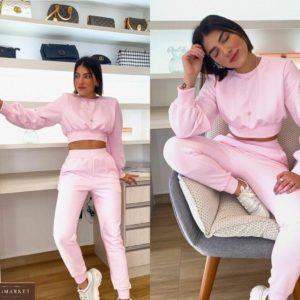 Заказать женский спортивный костюм из трикотажа со свитшотом-топом розового цвета выгодно