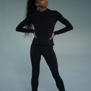 Заказать черного цвета женский трикотажный костюм на флисе: лосины и гольф (размер 42-54) онлайн