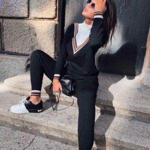 Заказать черный прогулочный женский вязаный костюм из турецкого трикотажа онлайн