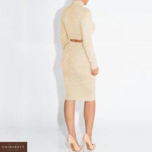 Приобрести бежевый костюм топ гольф с длинным рукавом+юбка для женщин по низким ценам