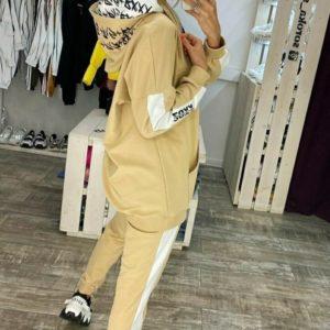 Приобрести бежевый спортивный костюм с двойным принтованным капюшоном (размер 42-48) для женщин онлайн