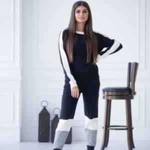 Приобрести женский трехцветный вязаный прогулочный костюм черного цвета выгодно