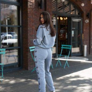 Приобрести женский спортивный костюм Adidas на флисе серый меланж в Украине по скидке